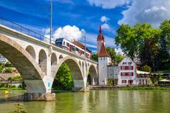 Старый центр города Bremgarten, Ааргау, Швейцарии Стоковая Фотография RF