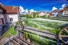 Старый центр города Bremgarten в Швейцарии Стоковое Изображение RF