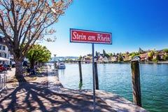 Старый центр города willage Stein am Rhein с красочное старое hous Стоковое Изображение RF