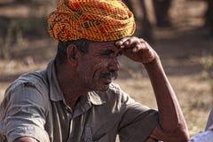 Старый человек Rajasthani с красным тюрбаном Фестиваль-Pushkar Стоковые Изображения