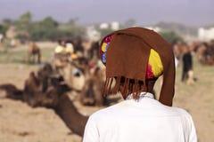 Старый человек Rajasthani с тюрбаном Фестиваль-Pushkar Стоковое Фото