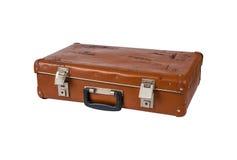 Старый чемодан изолированный на белой предпосылке Стоковая Фотография