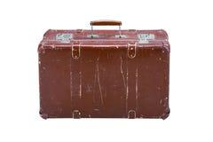 Старый чемодан на белой предпосылке Стоковое фото RF