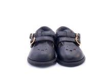 Старый черный ботинок младенца сделанный от кожи Стоковое Изображение RF