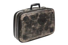 Старый черный изолированный чемодан стоковое фото rf