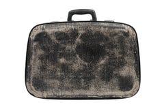 Старый черный изолированный чемодан стоковые изображения