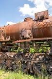 Старый чехословацкий паровой двигатель CSD на погосте, ржавом, детали боилера Стоковая Фотография