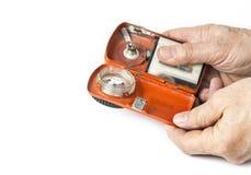 Старый электрофонарь батареи на белой предпосылке Стоковое Изображение