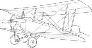 Старый эскиз самолет-биплана Стоковое фото RF