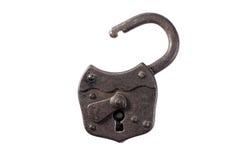 Старый padlock на белизне Стоковые Фото