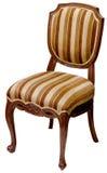Старый striped деревянный стул изолированный на белизне стоковая фотография rf