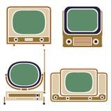 старый tv Винтажный комплект вектора Ретро прибор Стоковое Изображение RF
