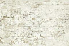 Старым белым покрашенная кирпичом текстура предпосылки стены Стоковое Изображение RF