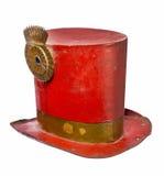 Старым изолированный красный цвет верхней шляпы покрашенный металлом Стоковые Изображения