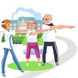 Старым людям тренера мультфильма показывающ как сделать тренировку стоковое изображение rf