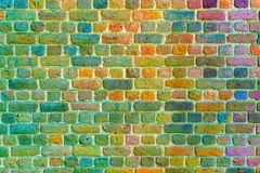 Старым покрашенная кирпичом предпосылка masonry кирпича Стоковое Фото