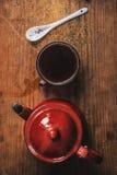 Старым покрашенное годом сбора винограда взгляд сверху комплекта кофе Стоковые Фотографии RF