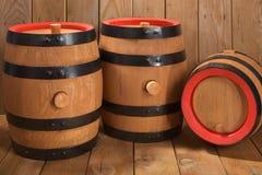 3 старых бочонка пива Стоковое Изображение RF