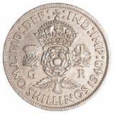 2 старых великобританских шиллинга монетки Стоковые Фото