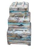 3 старых винтажных комода изолированного над белизной Стоковая Фотография