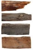 4 старых деревянных доски изолированной на белизне Стоковая Фотография