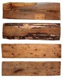 4 старых деревянных доски изолированной на белизне Стоковая Фотография RF