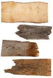 4 старых деревянных доски изолированной на белизне Стоковое Изображение