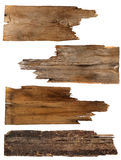 4 старых деревянных доски изолированной на белизне Стоковые Изображения