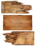 4 старых деревянных доски изолированной на белой предпосылке старая древесина планки Стоковая Фотография