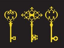 3 старых золотых ключа Стоковые Изображения RF
