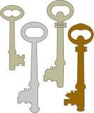 4 старых ключа, приборы для замка иллюстрация вектора