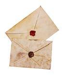 2 старых конверта с красным и коричневым воском уплотнения Стоковое Изображение