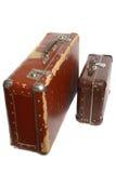 2 старых коричневых чемодана фибрового картона Стоковые Изображения