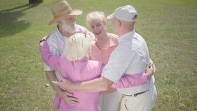 2 старых пары обнимая в положении парка в круге совместно Двойная дата старших пар Дружелюбный отдыхать компании акции видеоматериалы