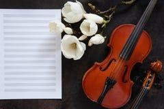 2 старых скрипки и цвести brances магнолии на белой бумаге примечания r стоковые фото
