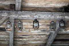 5 старых lanters Стоковая Фотография