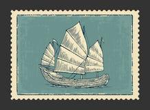 Старье плавая на волны моря Нарисованное рукой парусное судно элемента дизайна иллюстрация штока