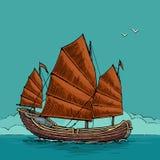Старье плавая на волны моря Нарисованное рукой парусное судно элемента дизайна Винтажная иллюстрация гравировки вектора для плака иллюстрация штока