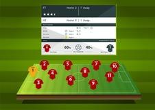 Статистик образования или футбольного матча футбола infographic Плоский дизайн также вектор иллюстрации притяжки corel Стоковое Изображение RF