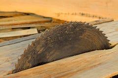 Статическое электрическое лезвие пилы на деревянной платформе Стоковое Фото
