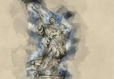Статуи Анджела на мосте ангелов в Риме - Castel Sant Angelo Стоковые Изображения RF