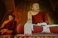 Статуи Будды на виске в Bagan, Мьянме Стоковое Изображение RF