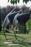 Статуи гимнастов от металла в олимпийском парке стоковые фотографии rf