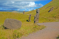 Статуи камня Moai на Rapa Nui - острове пасхи Стоковые Фотографии RF