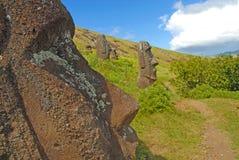 Статуи камня Moai на Rapa Nui - острове пасхи Стоковые Изображения RF