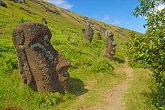 Статуи камня Moai на Rapa Nui - острове пасхи Стоковые Фото