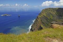 Статуи камня Moai на Rapa Nui Стоковые Фото