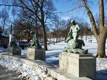Статуи учить, вероисповедания и индустрии в общем Бостона стоковое изображение rf