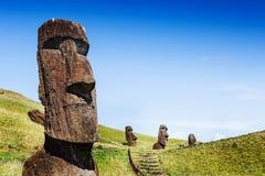 Статуи Moai в вулкане Rano Raraku в острове пасхи, Чили Стоковые Изображения RF