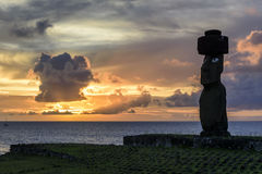 Статуи Moai, остров пасхи, Чили Стоковая Фотография RF